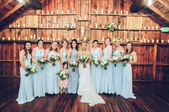 MOH - dusty blue, BM - sky blue. All dresses are chiffon & long length. They all picked their own dr
