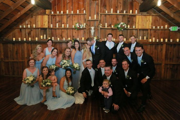This is an unedited picture from our wedding. All the bridesmaids dresses & the groomsmen ties came