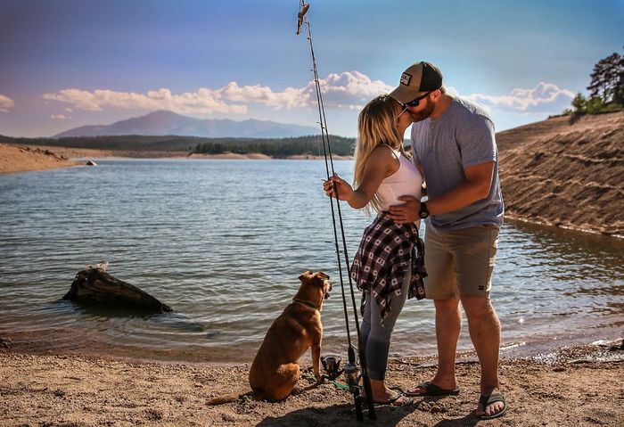 """We used this one for our save the dates, and obviously said """"two less fish in the sea""""."""