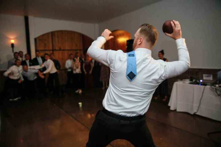 Tossing the football with the garter around it!