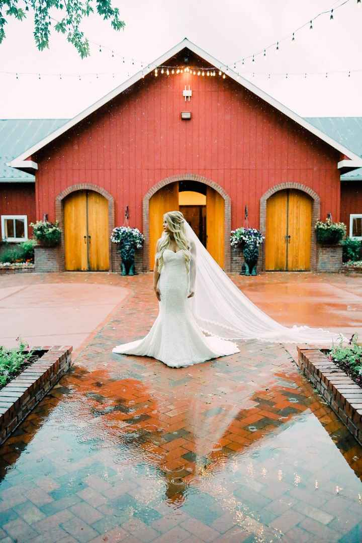 """I wore 26"""" milk & blush extensions with a chapel length veil! The veil even got wet in the rain, so"""