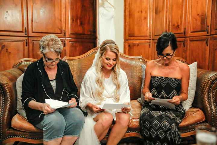 My MIL, mom and me reading letters from my husband