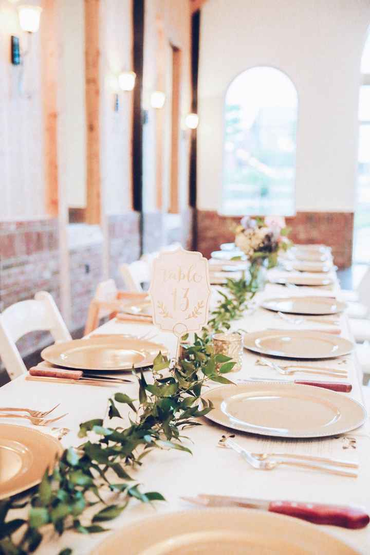 Our greenery runner, we did 3 long farmhouse tables.