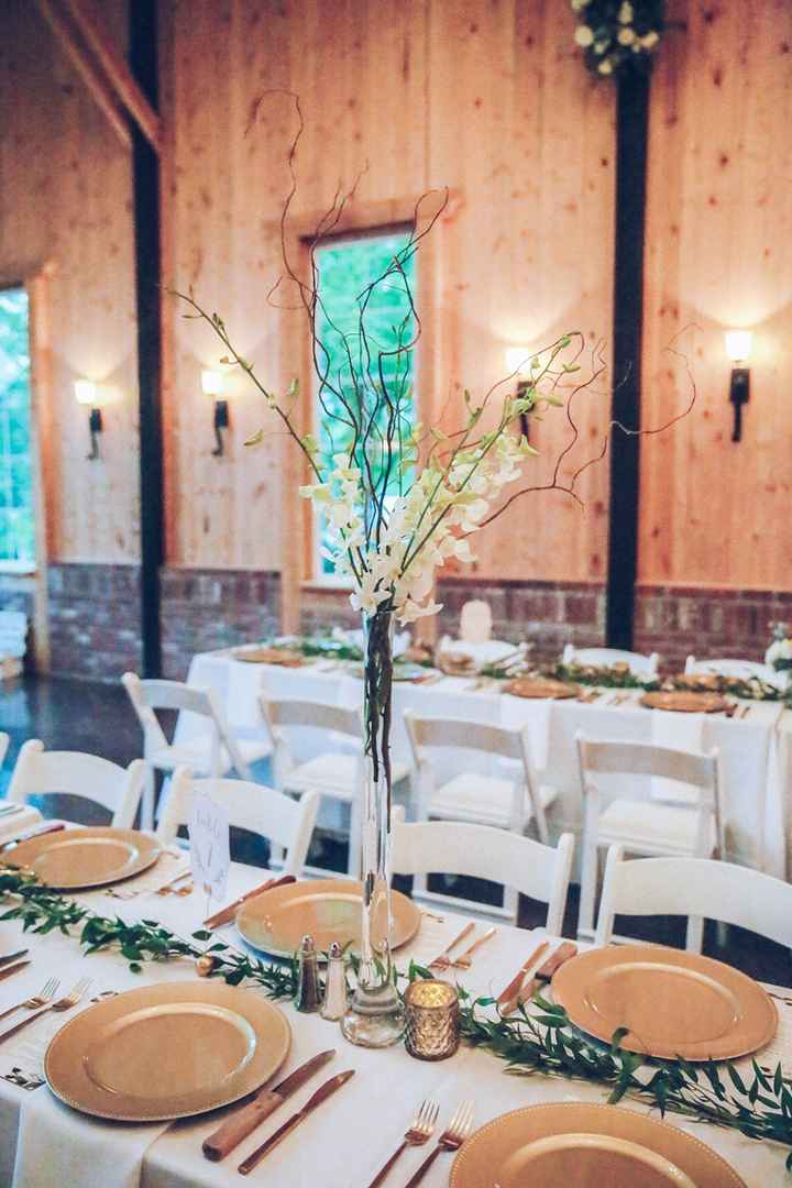 We had a lot of white & gold. We mixed in some greenery too.
