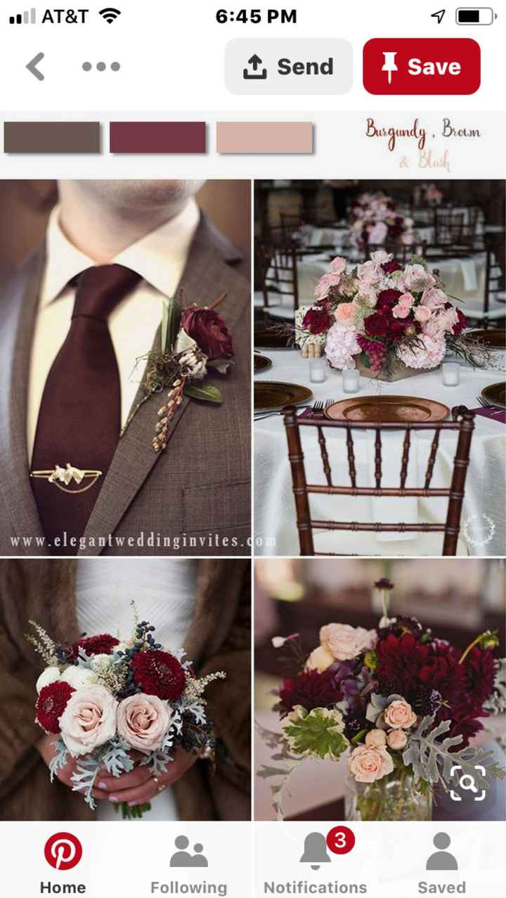 Fall wedding colors that go with burgundy - 1