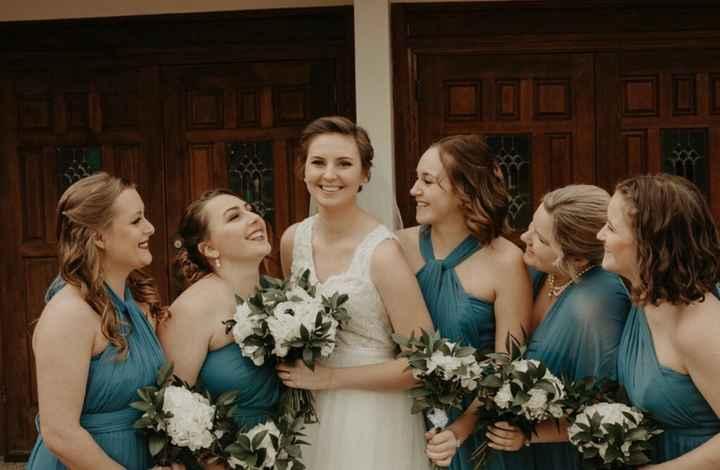 bridesmaids single hydrangea and greenery