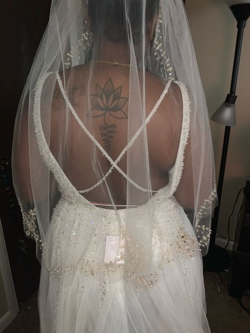 Ivory dress with champagne veil 1