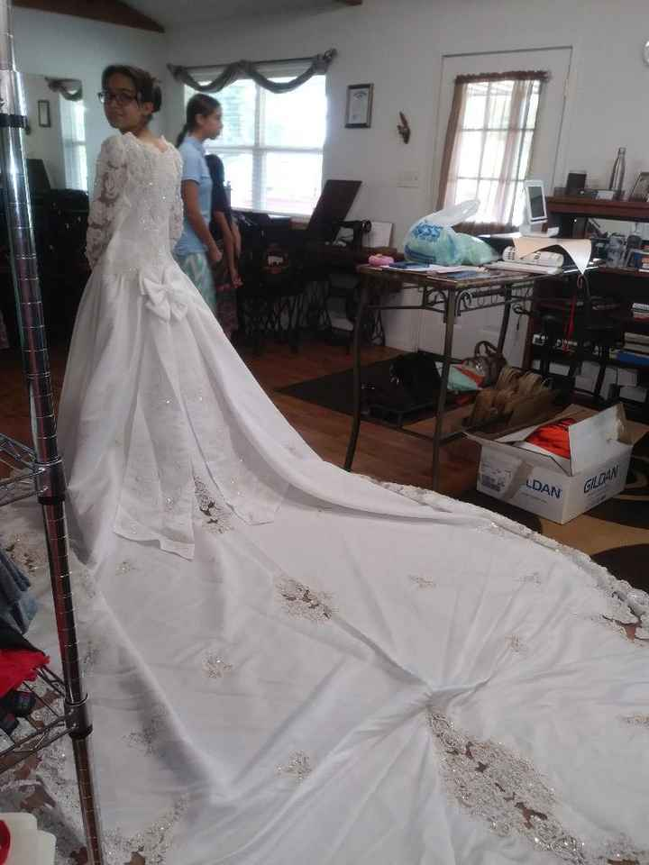 wedding dress with the train spread out