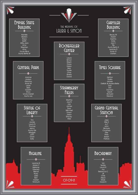 New York theme seating chart