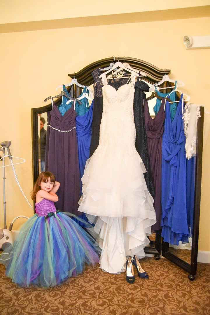 The collection of dresses (and our flower girl)