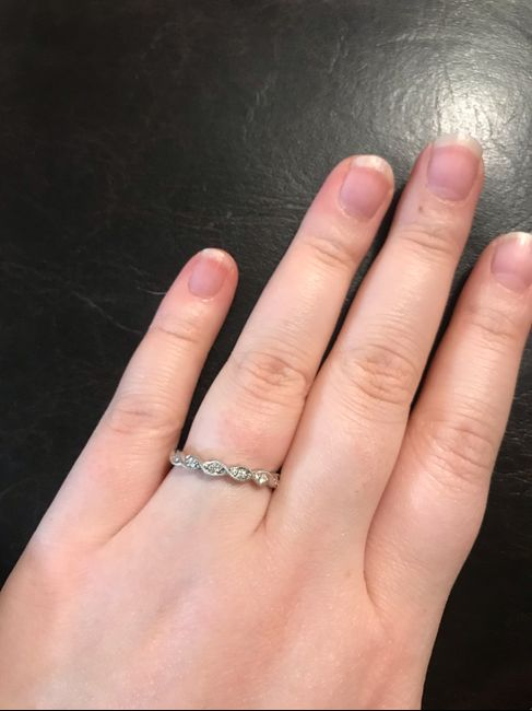 Just got my wedding band! Show yours off ladies! 1