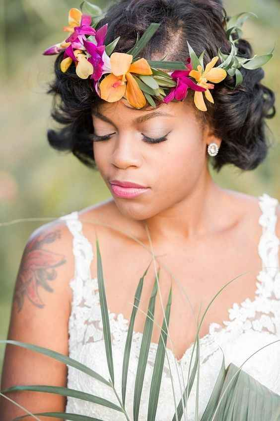 black bride wearing flower crown