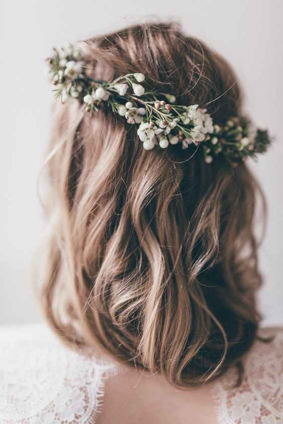 long bob with flower crown