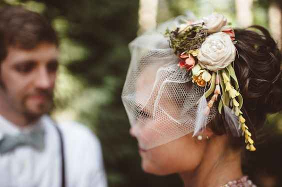 Birdcage veil and flower crown