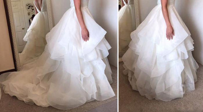How to bustle a  wedding dress with a ruffly bottom? - 2
