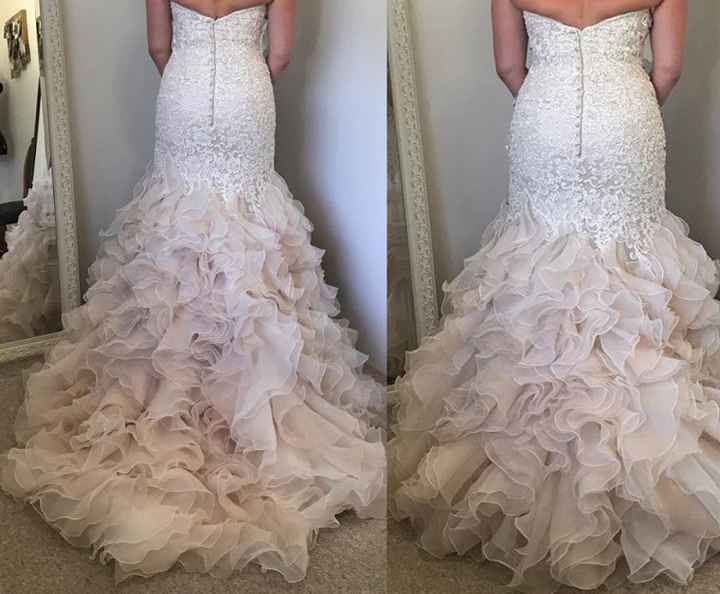 How to bustle a  wedding dress with a ruffly bottom? - 1