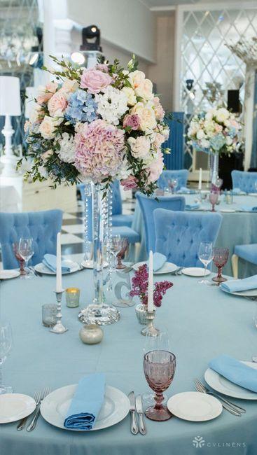 Blush and dusty blue wedding flowers 1