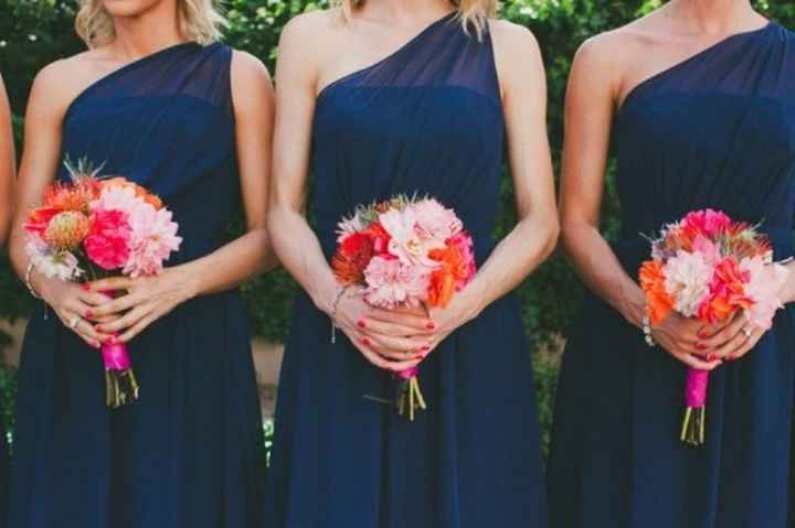 Even better have everyone in navy with pink flowers!!