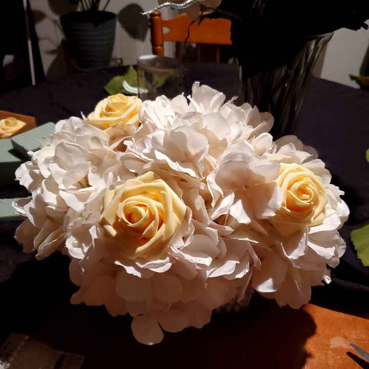 My first centerpieces & bm bouquet - 1