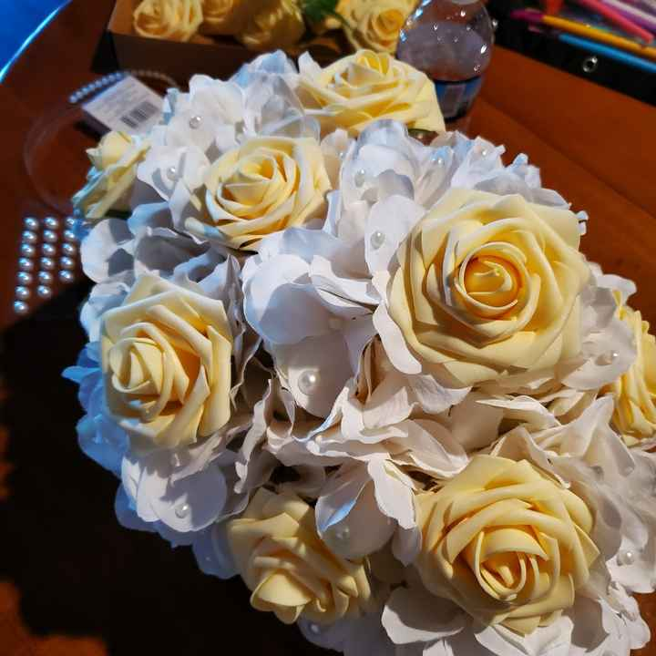 My first centerpieces & bm bouquet - 3