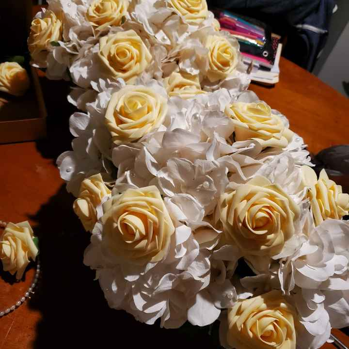 My first centerpieces & bm bouquet - 4