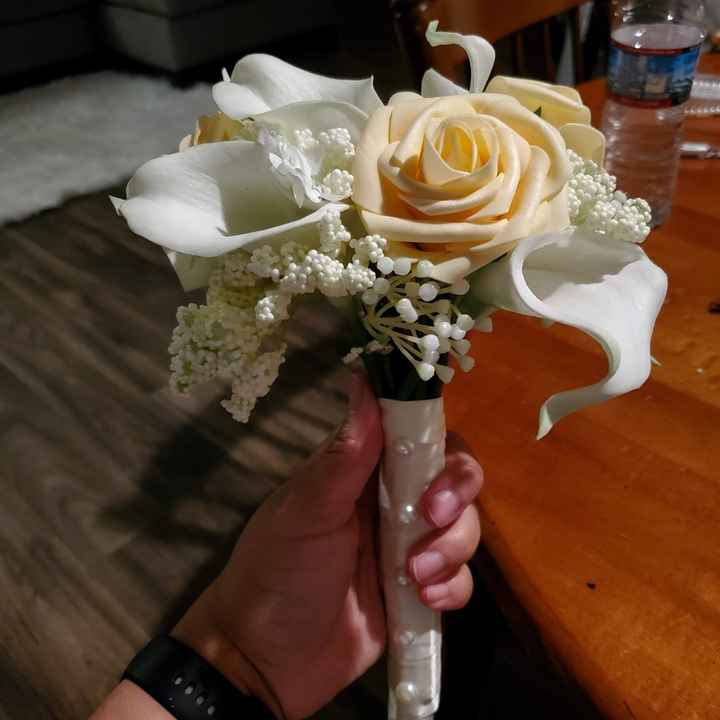 My first centerpieces & bm bouquet - 6