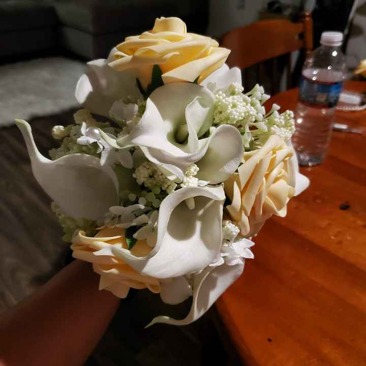 My first centerpieces & bm bouquet - 7