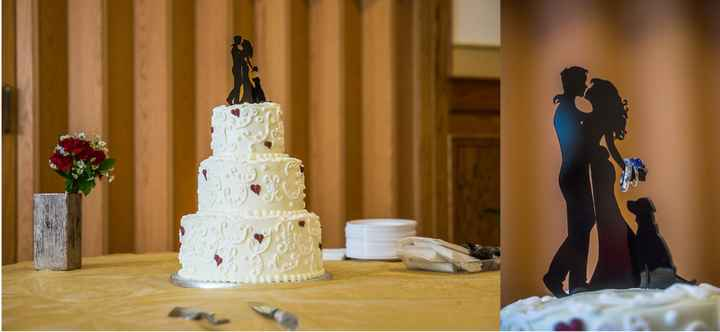 Our cake, and the incredible ring photo with the cake topper