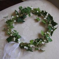 My crown of ivy. Not sure if I'll wear this for the ceremony as well as the reception.