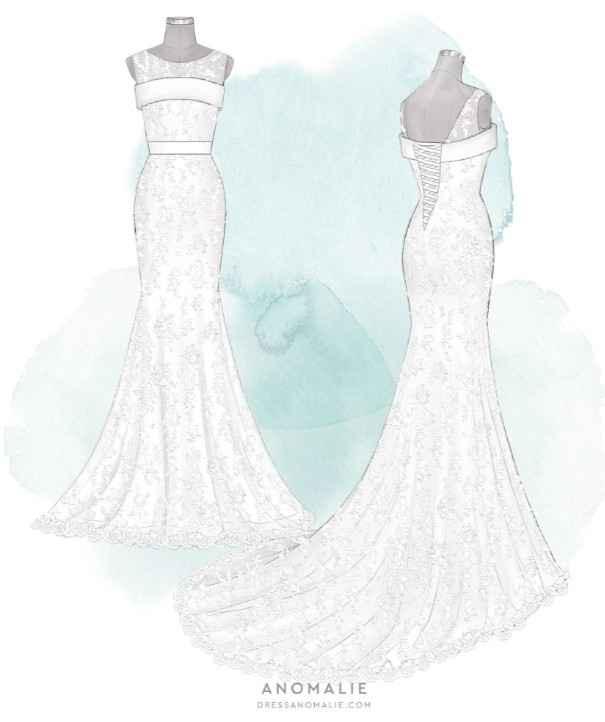 Final Sketch of Wedding Dress