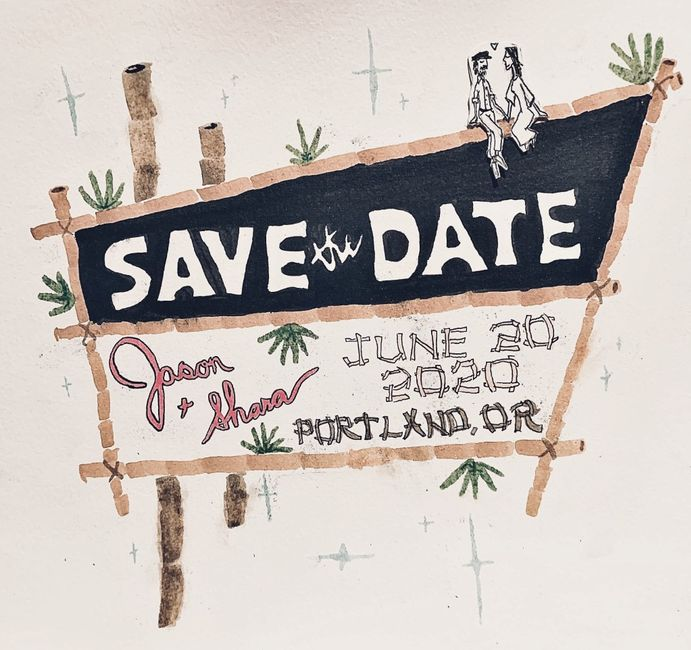 """My Fiance Created our Save the Date """"retro Tiki"""" Style 1"""