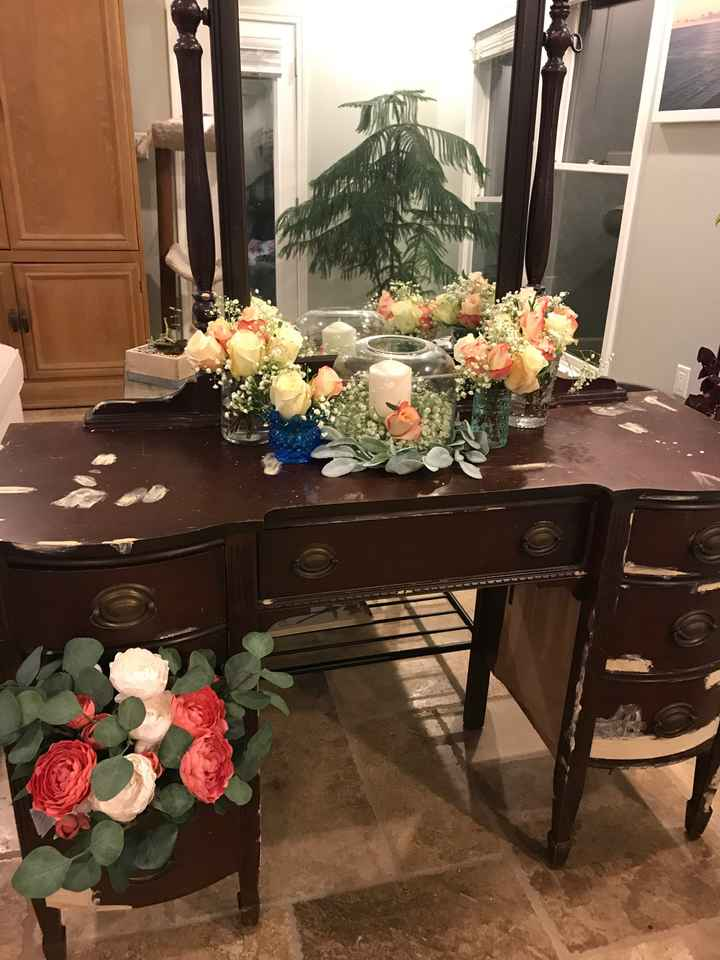 DIY floral trial run guestbook table