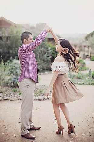 Cute engagement photo idea couple dancing