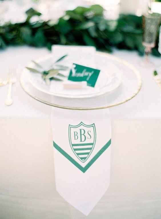 Green and white monogrammed napkin