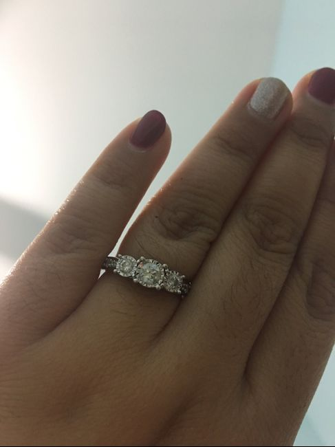 Let me see 3 stone halo engagement rings! 2