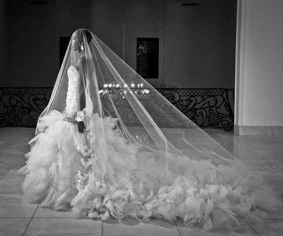 ruffle dress and veil