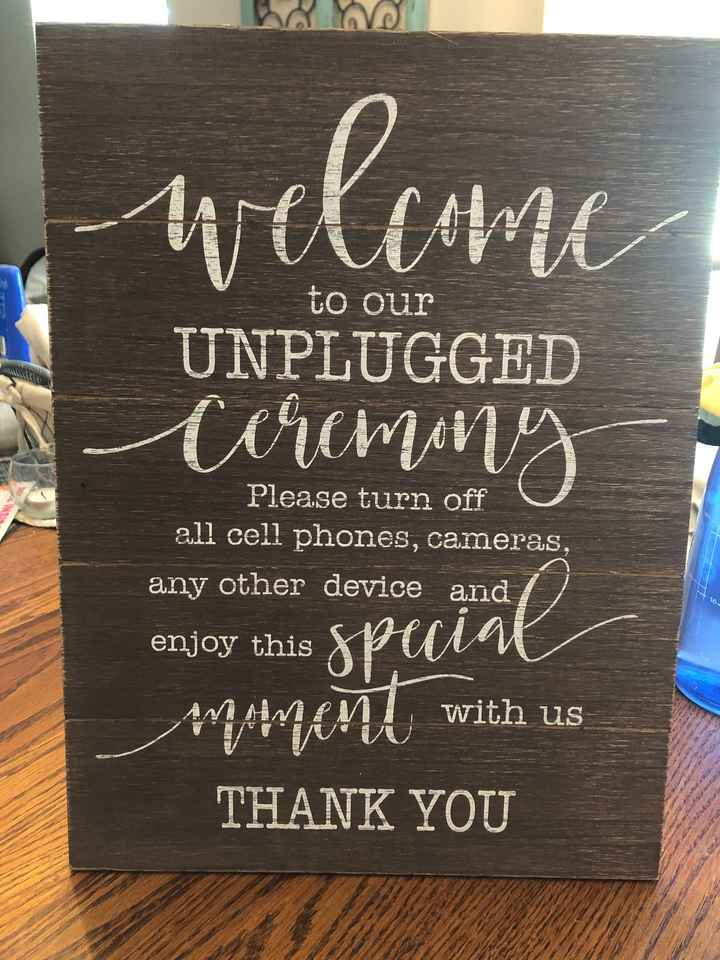 Unplugged ceremony sign - 1