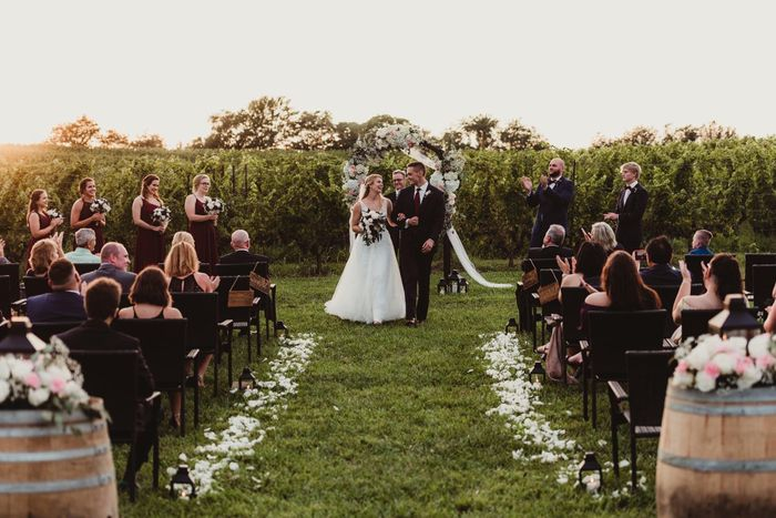 Rose petal aisle for outdoor ceremony 1