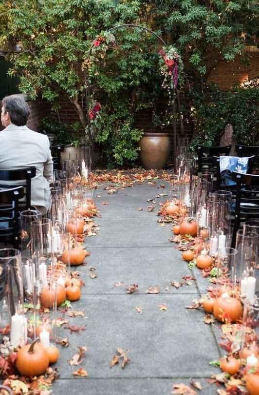 fall ceremony decor foliage pumpkins candles leaves