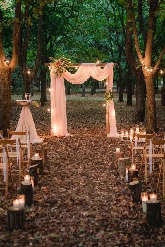 aisle decor outdoor wedding tree stumps candles alter