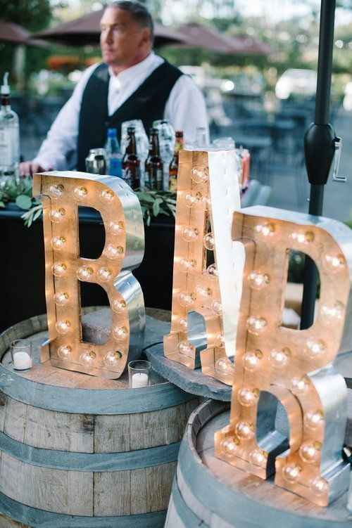 outdoor wedding bar sign
