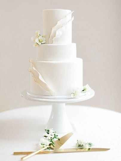 white wedding cake on cake stand
