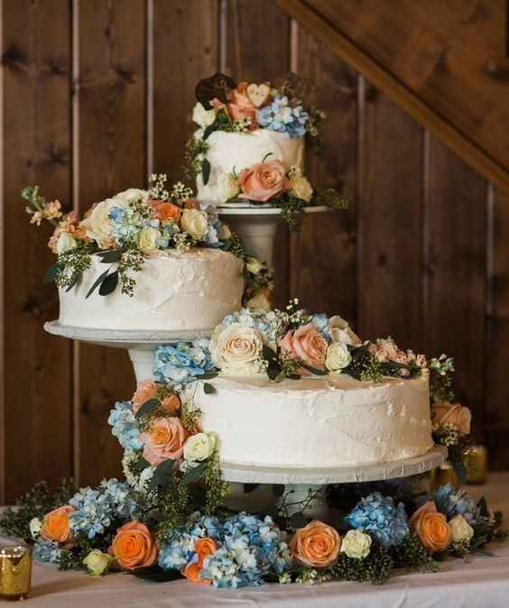 separate wedding cake tiers flowers