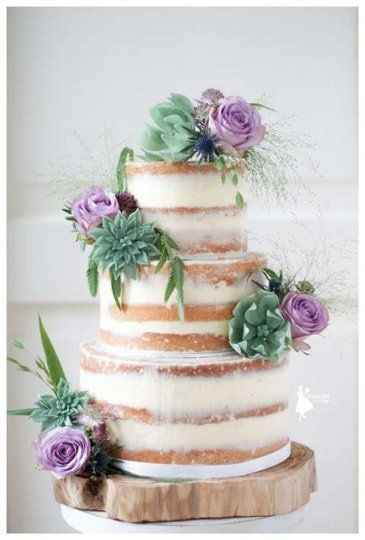 naked wedding cake with lilac roses and greenery