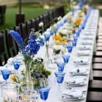 sapphire dark blue table setting wine glasses centerpiece