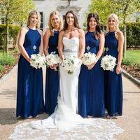 sapphire dark blue bridesmaids dresses bride bouquet