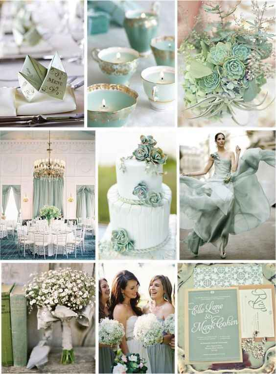 Mint and Grey Color Scheme Wedding