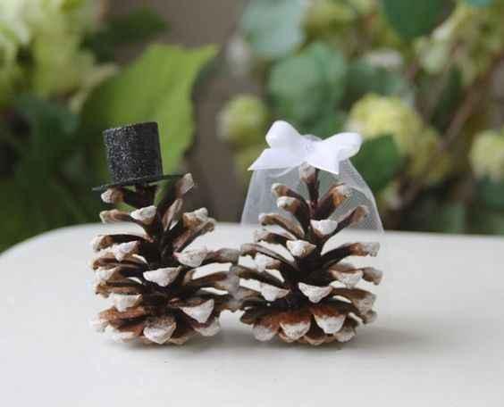 Winter Wedding Pinecone Cake Topper