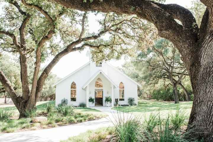white church wedding ceremony in woodland