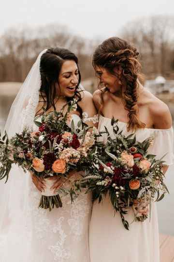 bride with her maid of honour, fall flowers, blush bridesmaids dress